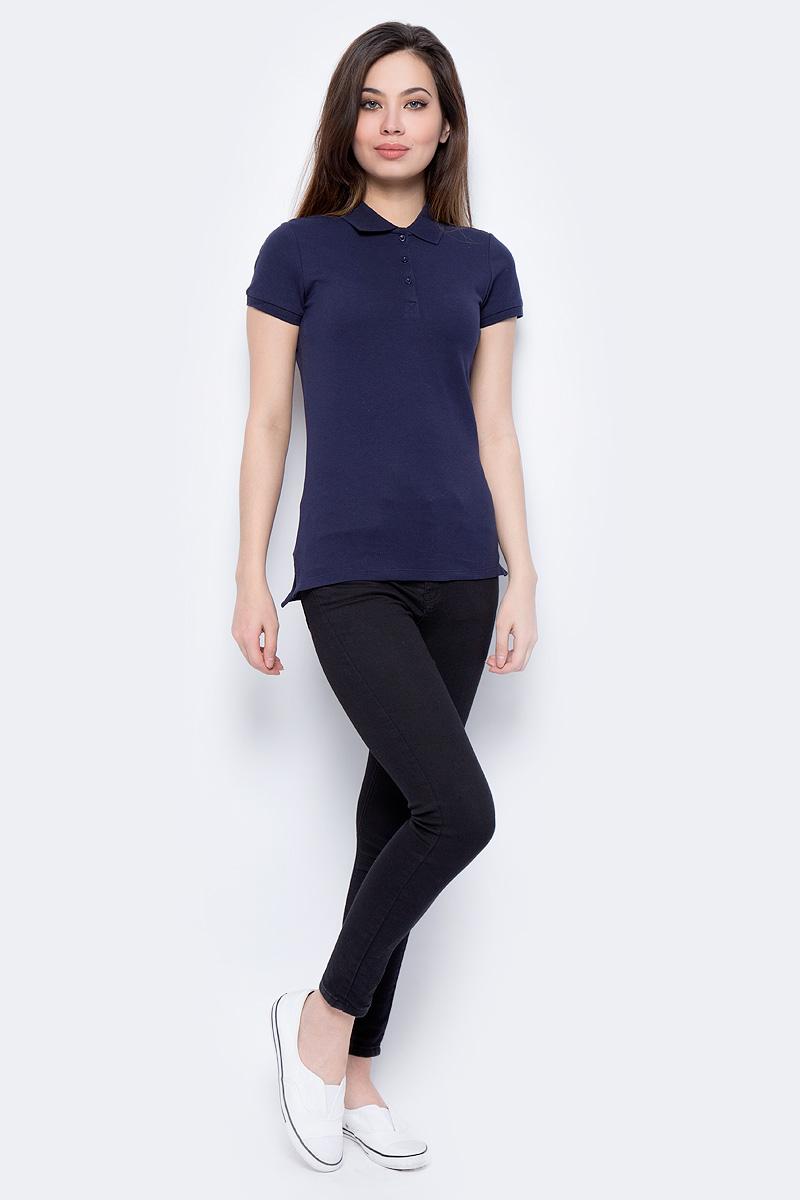 Поло женское Sela, цвет: темно-синий. Tsp-111/339-8182. Размер L (48)Tsp-111/339-8182Поло женское Sela выполнено из хлопка с добавлением эластана. Модель с отложным воротником и короткими рукавами.