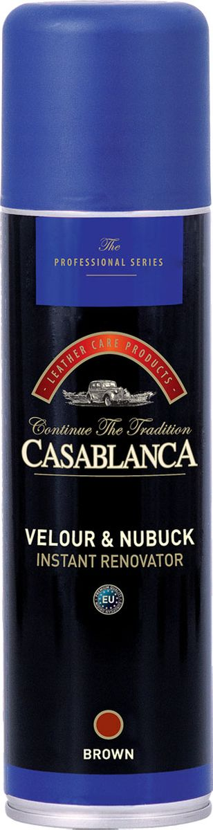 Восстановитель для замши и нубука Casablanca Professional, цвет: коричневый1602Восстановитель Casablanca Professional освежает и восстанавливает цвет обуви и одежды из замши и нубука. Инструкция по применению: всегда используйте спрей так, как показано на этикетке.Баллон при распылении держите вертикально, клапаном вверх.Внимание: хороший эффект зависит от типа и качества кожи.При обработке одежды из замши или нубука, необходимо перед обработкой, протестировать на небольшом участке изделия, например под воротником.