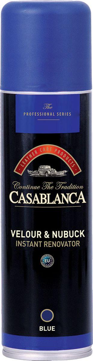 Восстановитель для замши и нубука Casablanca Professional, цвет: синий1603Восстановитель Casablanca Professional освежает и восстанавливает цвет обуви и одежды из замши и нубука. Инструкция по применению: всегда используйте спрей так, как показано на этикетке.Баллон при распылении держите вертикально, клапаном вверх.Внимание: хороший эффект зависит от типа и качества кожи.При обработке одежды из замши или нубука, необходимо перед обработкой, протестировать на небольшом участке изделия, например под воротником.