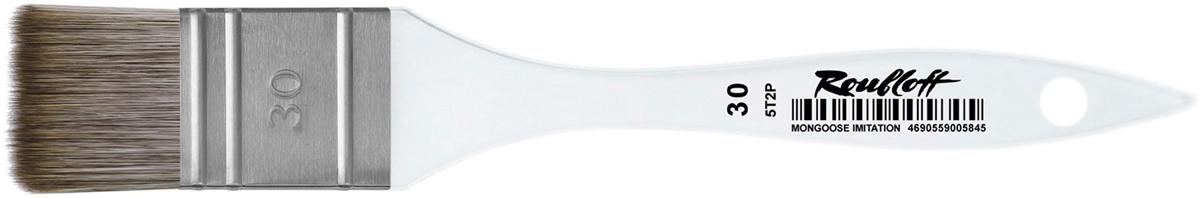 Roubloff Кисть 5T2P синтетика № 30ЖТФ-30,0ФБПлоская кисть-флейц из синтетики, имитирующей волос мангуста, имеет более жесткую структуру, чем волос белки, но более мягкую, чем свиная щетина; применима для работы с такими красками, как акрил, гуашь, темпера, тушь и акварель. Ворс хорошо впитывает влагу и также хорошо отдает ее на полотно, что позволяет наносить широкий слой краски одним мазком и добиваться интересной формы пятна лишь поворотом руки. Прозрачное оргстекло, из которого изготовлена ручка, исключает вероятность проникновения краски или влаги внутрь материала, что увеличивает износостойкость изделия.