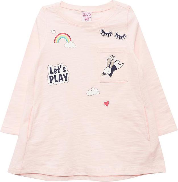 Платье для девочки Sela, цвет: светло-розовый. DK-517/413-8111. Размер 98DK-517/413-8111Платье для девочки Sela выполнено из натурального хлопка. Модель с круглым вырезом горловины и длинными рукавами.
