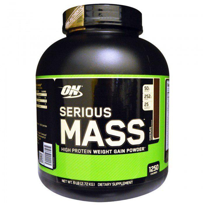Гейнер Optimum Nutrition Serious Mass, шоколад, 2,72 кг7489270229951250 калорий в порции с натуральным вкусом - это то, что надо для создания мускулатуры поразительной массы и силы. Надо быть серьезным спортсменом, чтобы справиться с такой калорийностью и превратить содержащийся в Serious Mass белок в собственные мышцы! С помощью Serious Mass вы получите необходимое количество протеинов, углеводов, микроэлементов и калорий, что поможет Вам быстро набрать вес. Каждый элемент имеет высокую биологическую ценность. В состав Serious Mass уже входят аминокислоты. Serious Mass содержит 50 г. белка и 251 г. энергоуглеводов в каждой порции.Состав: мальтодекстрин, протеиновая смесь (концентрат сывороточного протеина, казеинат кальция, яичный белок, сладкая молочная сыворотка), искусственные ароматизаторы, витаминная и минеральная смесь (фосфат дикалия, аспартат магния, фосфат дикальция, цитрат кальция, аскорбиновая кислота, ниацинамид, цитрат цинка, бета каротин, пантотенат дикальция, диальфа токоферил сукцинат, селенометионин, глюконат меди, фумарат железа, аминокислотный хелат марганца, мононитрат тиамина, пиридоксин гидрохлорид, рибофлавин, полиникотинат хрома, фолиевая кислота, биотин, аминокислотный хелат молибдена, холекальциферол, иодид калия, цианокобаламин), триглицериды со средней цепью, fd & c red #40, ацесульфам калия.Товар сертифицирован.