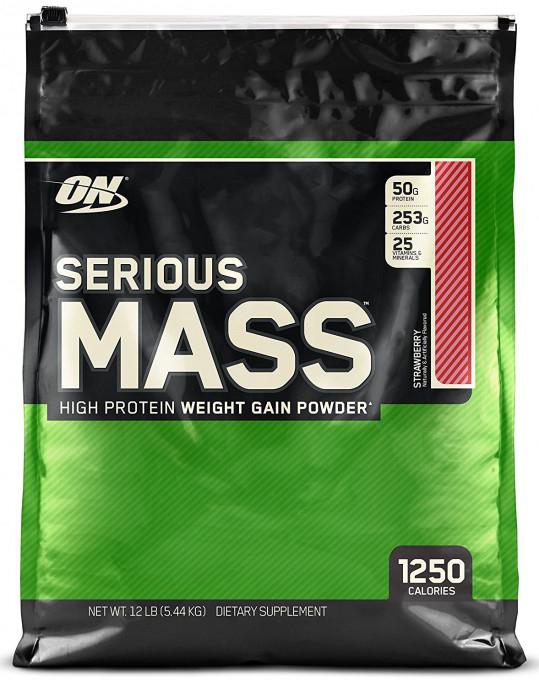 Гейнер Optimum Nutrition Serious Mass, клубника, 5,44 кг цена