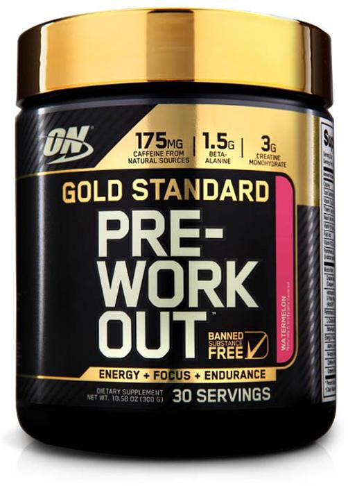 Предтренировочный комплекс Optimum Nutrition Gold Standard PRE-Workout, арбуз, 300 г748927052756Gold Standard Pre-Workout от Optimum Nutrition -это инновационный предтренировочный продукт, выполненный из проверенных и безопасных ингредиентов. Прием Pre-Workout Optimum Nutrition гарантированно улучшает производительность на тренировках, а также увеличивает силу, выносливость, ментальную фокусировку и снижает усталость.Состав: искусственные ароматизаторы, лимонная кислота, диоксид кремния, силиката кальция, камедь смесь (целлюлозная смола, ксантановая камедь, каррагинан), кофеин (от чая и/или кофе бобы), яблочная кислота, сукралоза, винная кислота, ацесульфам калия.Товар сертифицирован.