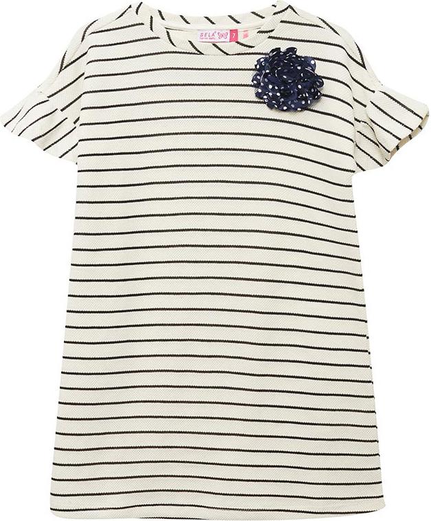 Платье для девочки Sela, цвет: белый. Dks-617/888-8273. Размер 152 лонгслив для девочки sela цвет белый t 611 1216 8273 размер 152 12 лет