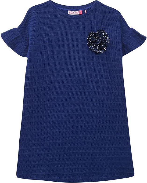 Платье для девочки Sela, цвет: синий. Dks-617/888-8273. Размер 152 лонгслив для девочки sela цвет белый t 611 1216 8273 размер 152 12 лет
