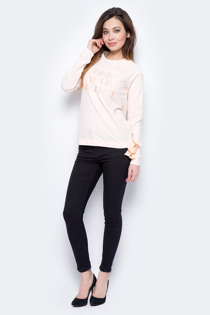 Джемпер женский Sela, цвет: пастельный. St-113/944-8192. Размер L (48)St-113/944-8192Джемпер женский Sela выполнен из хлопка и полиэстера. Модель с круглым вырезом горловины и длинными рукавами.