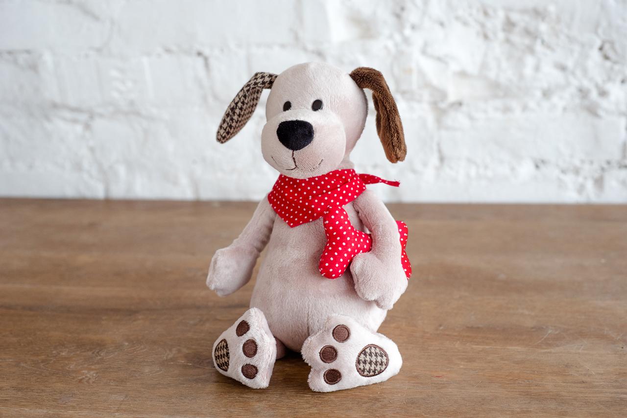 Плюш Ленд Мягкая игрушка Собака с косточкой 25 см радомир мягкая игрушка собака соня 55 см 2008906