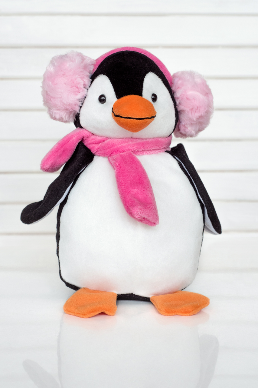 Плюш Ленд Мягкая игрушка Пингвин в розовом шарфике и наушниках 30 см sima land мягкая игрушка медвежонок медок в шарфике 30 см