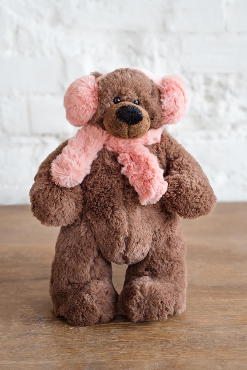 Плюш Ленд Мягкая игрушка Медведь в шарфике и наушниках 30 см sima land мягкая игрушка заяц в шарфике в клетку 326419
