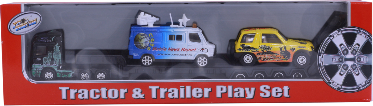 Pioneer Toys Набор дорожный на трейлере pioneer toys набор машин фура