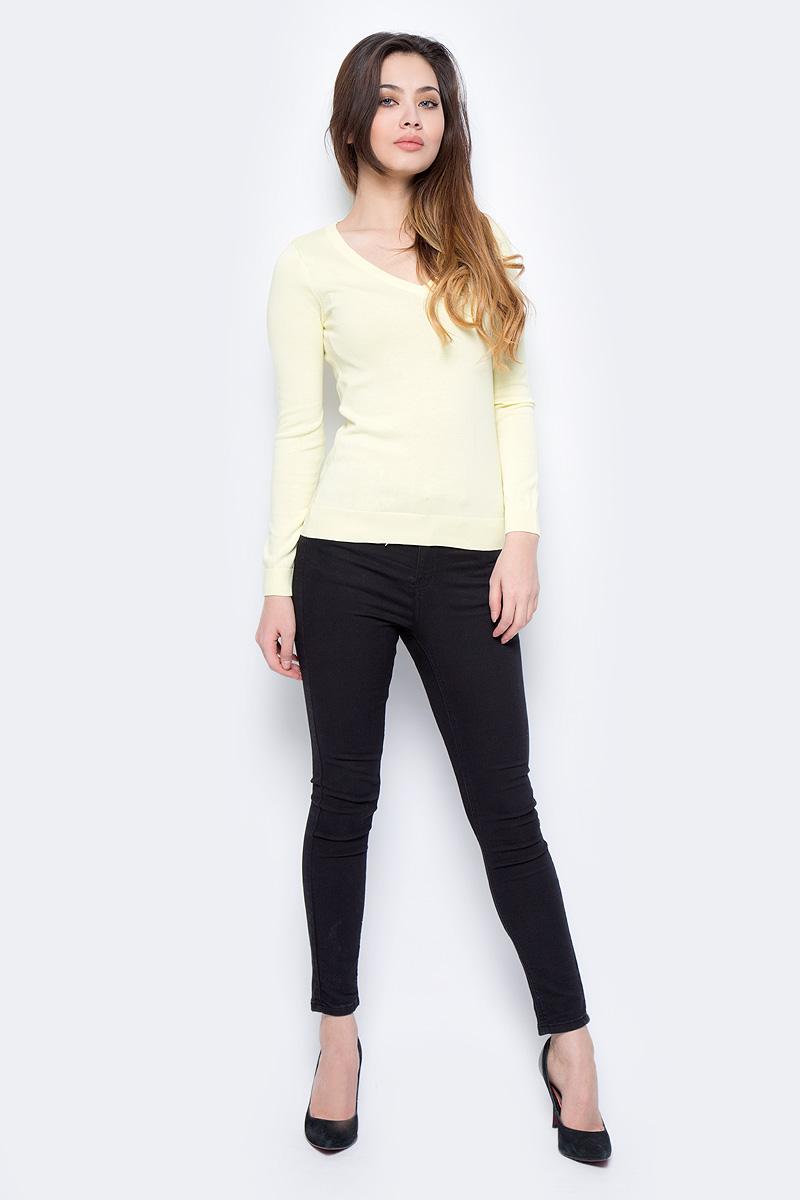 Пуловер женский Sela, цвет: нежно-желтый. JR-114/692-8182. Размер XS (42)JR-114/692-8182Пуловер женский Sela выполнен из натурального хлопка. Модель с V-образным вырезом горловины и длинными рукавами.