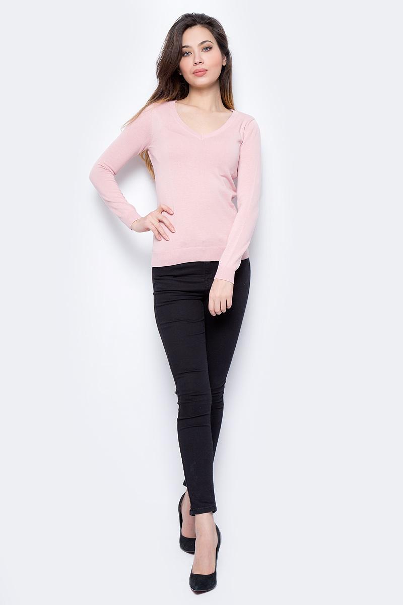 Пуловер женский Sela, цвет: серебристо-розовый. JR-114/692-8182. Размер XS (42)JR-114/692-8182Пуловер женский Sela выполнен из натурального хлопка. Модель с V-образным вырезом горловины и длинными рукавами.