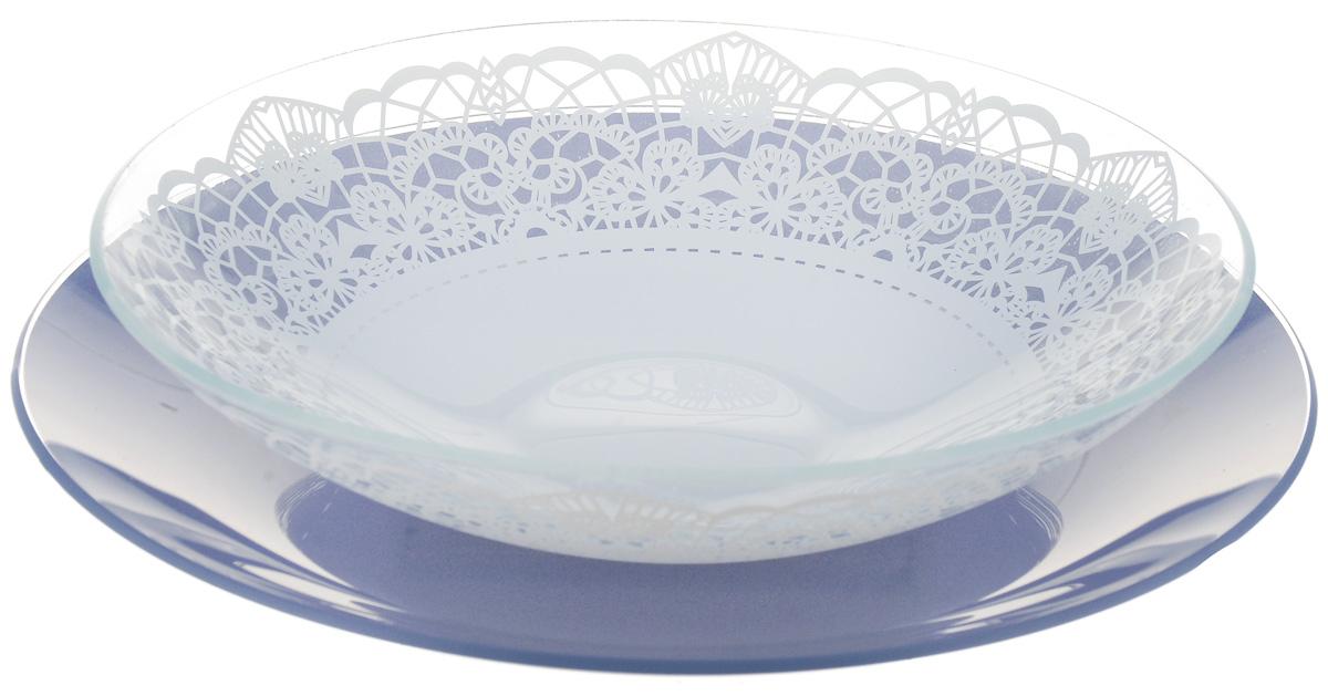 Набор тарелок глубокая NiNaGlass, цвет: голубой, диаметр 25 см, 2 шт. 85-225-143пс85-225-143псНабор тарелок NiNaGlass Кружево и Палитра выполнена из высококачественного стекла, декорирована под Вологодское кружево и подстановочная тарелка яркий насыщенный цвет. Набор идеален для подачи горячих блюд, сервировки праздничного стола, нарезок, салатов, овощей и фруктов. Он отлично подойдет как для повседневных, так и для торжественных случаев. Такой набор прекрасно впишется в интерьер вашей кухни и станет достойным дополнением к кухонному инвентарю.
