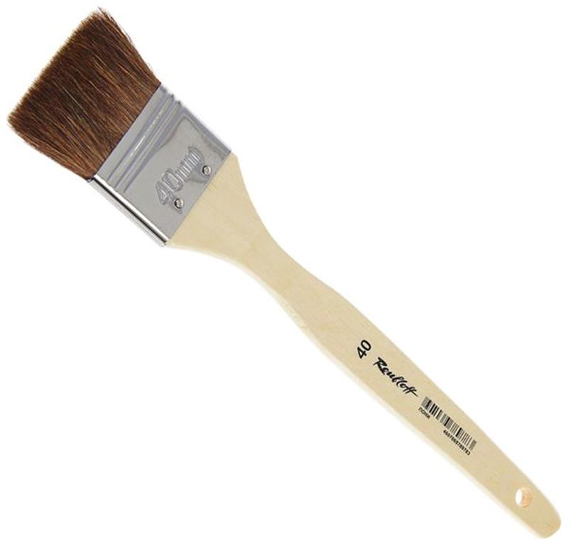 Roubloff Кисть пони № 40ЖПФ-40,02БФлейц мягкий из волоса пони на деревяной короткой лакированной ручке.
