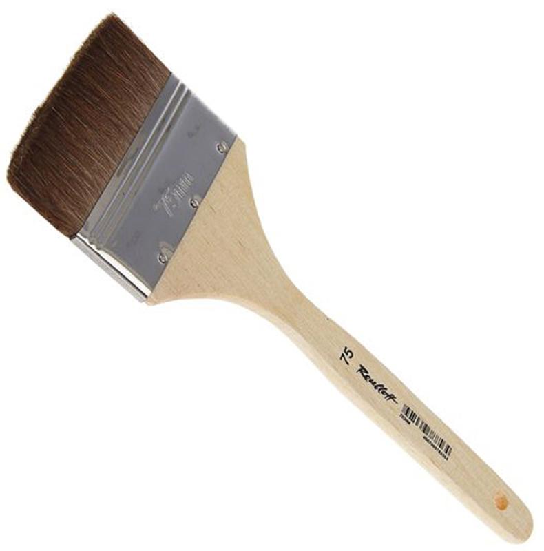 Roubloff Кисть пони № 75ЖПФ-75,02БФлейц мягкий из волоса пони на деревяной короткой лакированной ручке.