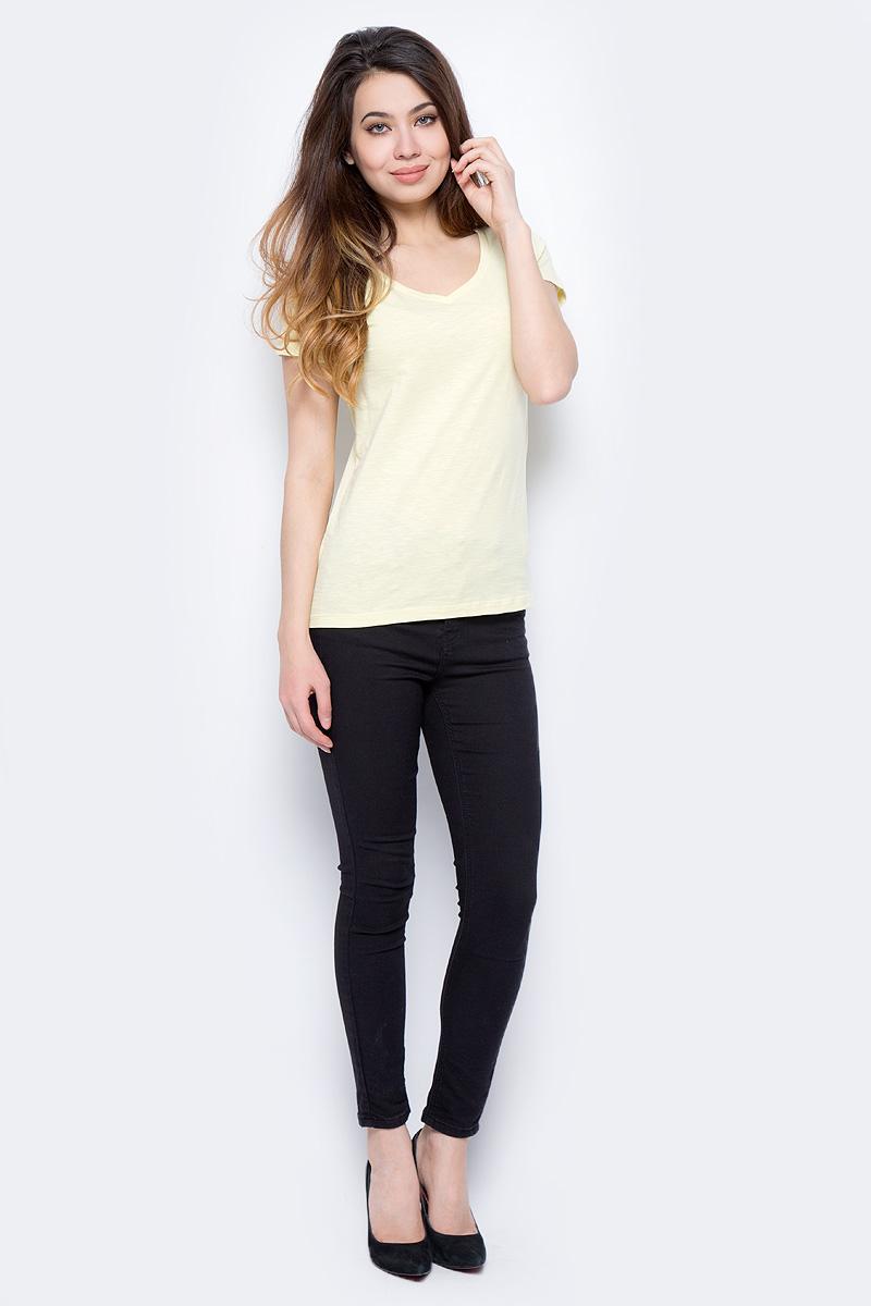 Футболка женская Sela, цвет: нежно-желтый. Ts-111/337-8182. Размер XS (42)Ts-111/337-8182Футболка женская Sela выполнена из натурального хлопка. Модель с V-образным вырезом горловины и короткими рукавами.