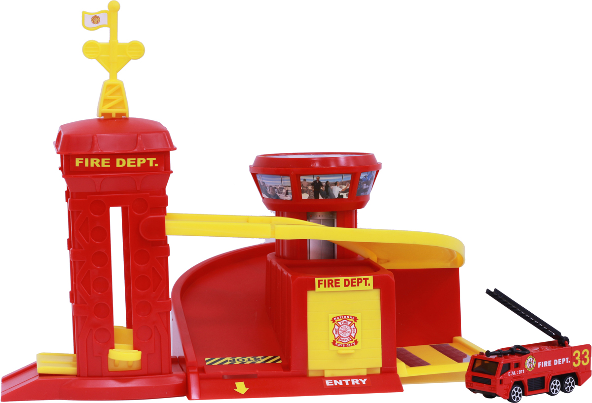 Pioneer Toys Гараж с машинкой Fire Station jie star fire ladder truck 3 kinds deformations city fire series building block toys for children diy assembled block toy 22024