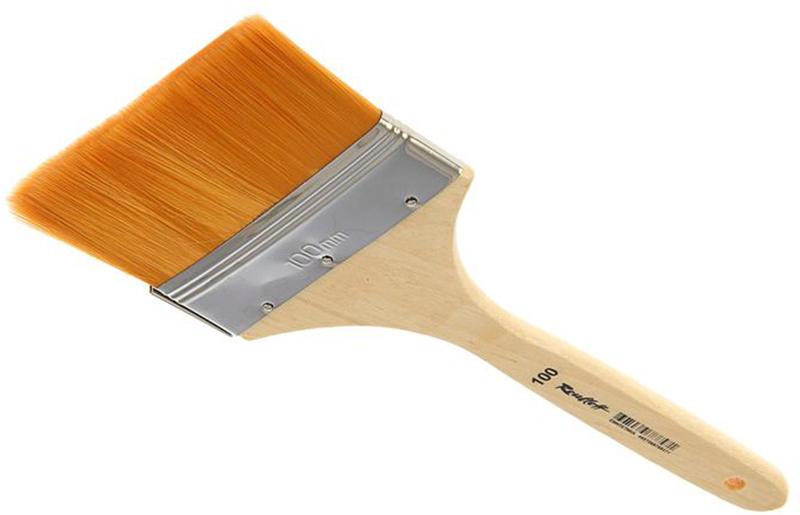 Roubloff Кисть синтетика № 100ЖСФ-100,2БФлейц мягкий из синтетики на деревяной короткой лакированной ручке.