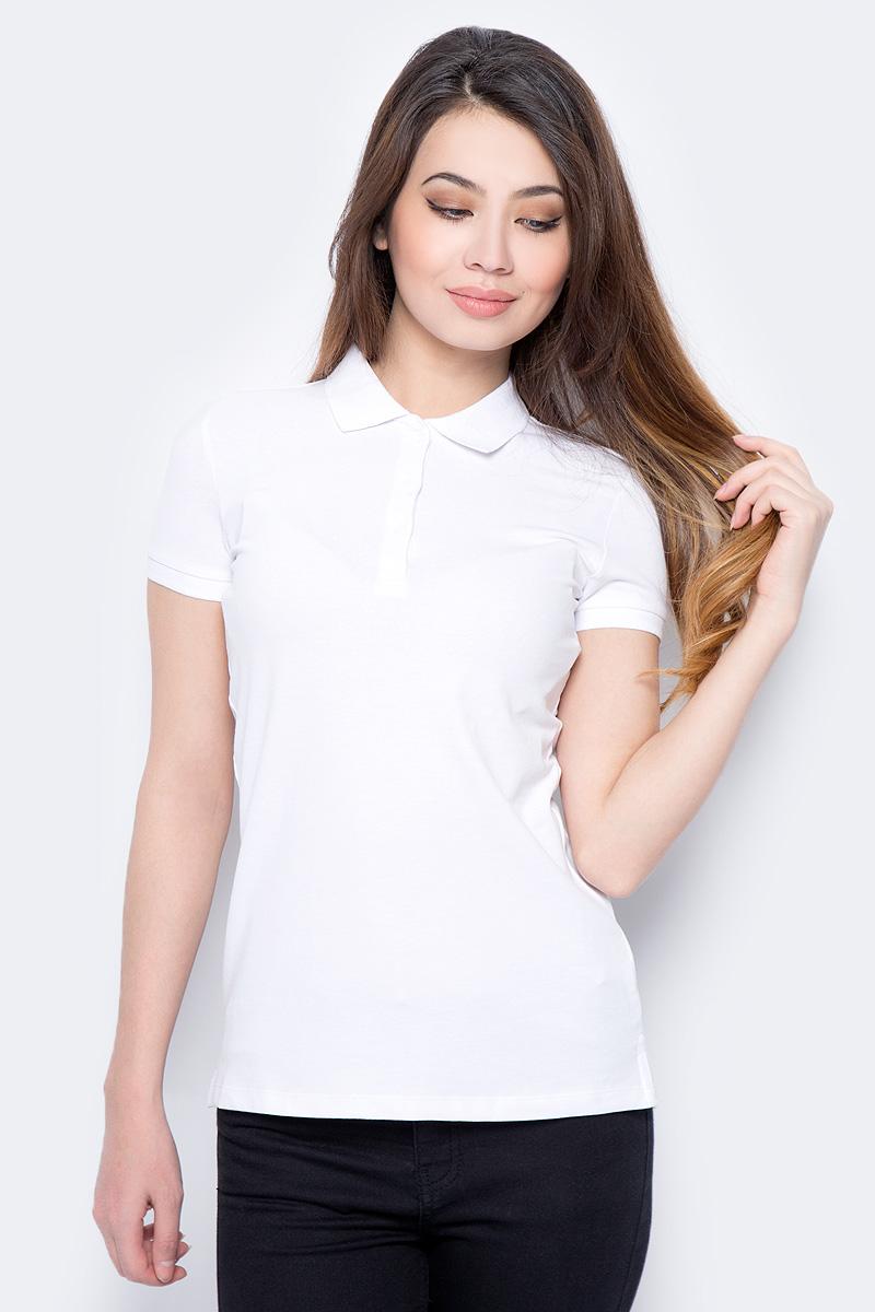 Поло женское Sela, цвет: белый. Tsp-111/339-8182. Размер XXS (40) поло sela sela se001ebqnz89