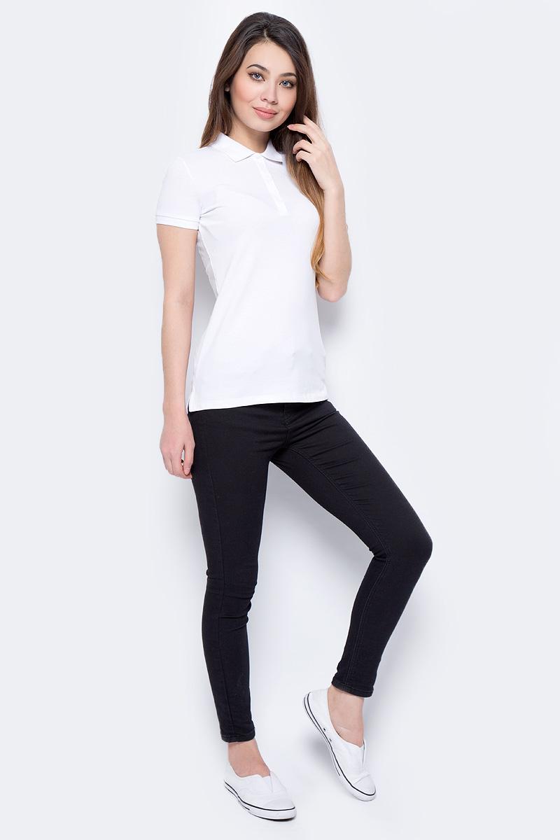 Поло женское Sela, цвет: белый. Tsp-111/339-8182. Размер XXL (52)Tsp-111/339-8182