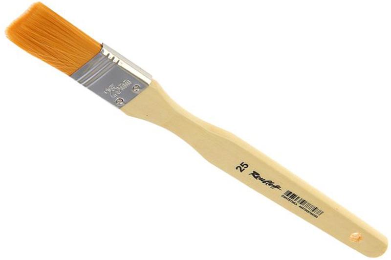 Roubloff Кисть синтетика № 25ЖСФ-25,02БФлейц мягкий из синтетики на деревяной короткой лакированной ручке.