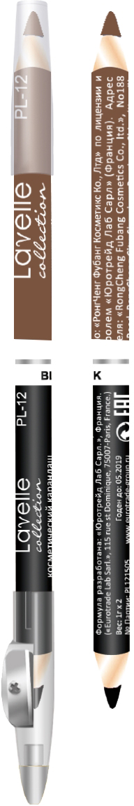 LavelleCollectionКарандаш PL12 двойной с точилкой тон 06 черный+хаки, 7 г Разнообразие тонов в палитре позволит подобрать именно Ваш оттенок...