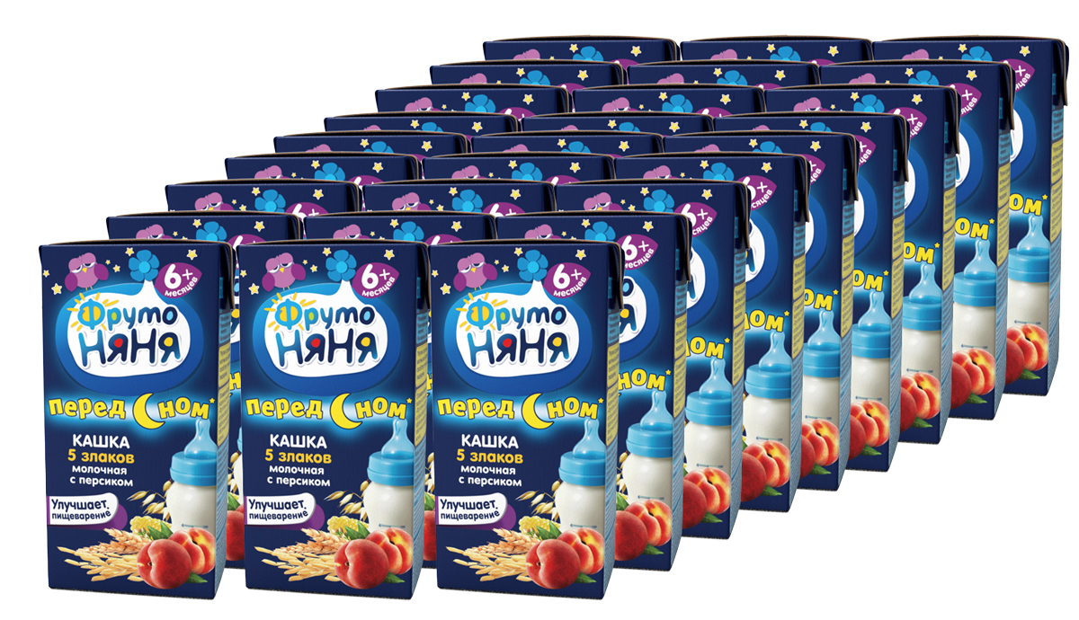 ФрутоНяня Каша из 5 злаков с персиком молочная с 6 месяцев, 27 шт по 0,2 л каша готовая молочная фрутоняня рисовая с 6 мес 200 мл