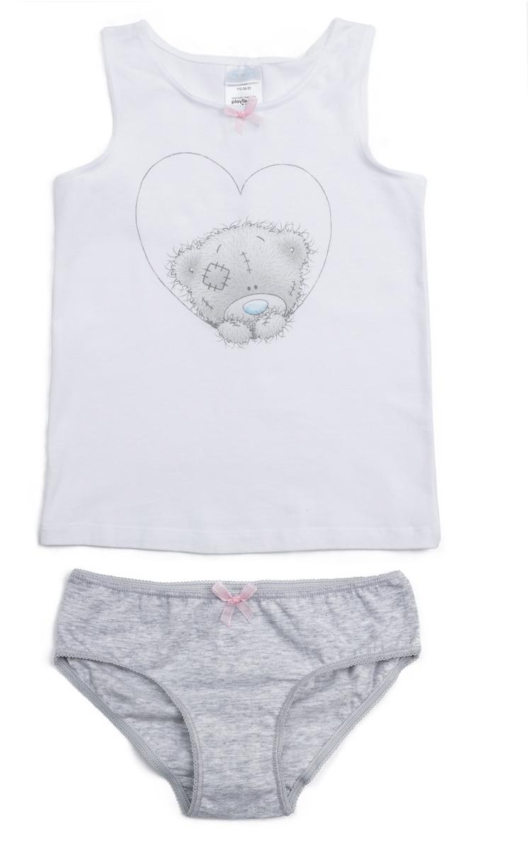Комплект белья для девочки PlayToday Home Розовая дымка: майка, трусы, цвет: белый, серый. 686003. Размер 146/152 майки