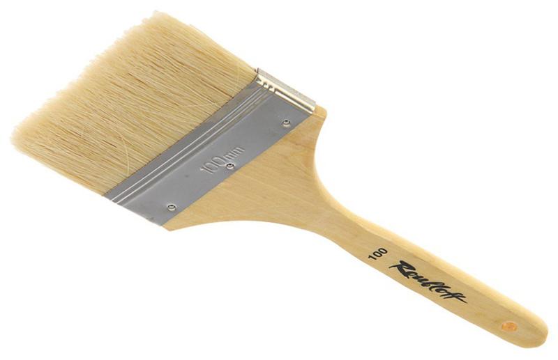Roubloff Кисть щетина № 100ЖЩФ-100,2БФлейц жесткий из волоса щетины на деревяной короткой лакированной ручке.