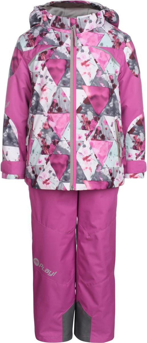Комплект одежды для девочки atPlay!: куртка, брюки, цвет: розовый. 1su813. Размер 1161su813Комплект одежды для девочки atPlay! состоит из куртки и брюк. Комплект изготовлен из водонепроницаемого, дышащего и ветрозащитного материала с покрытием Teflon от DuPont. Дышащая способность: 5000г/м и водонепроницаемость куртки: 5000мм. Пропитка материала предотвращает проникновение воды и грязи. В качестве наполнителя используется утеплитель нового поколения Shelter (80 гм2), который надежно сохраняет тепло.Куртка с воротником-стойка и съемным капюшоном застегивается на застежку-молнию. Капюшон крепится в куртке с помощью застежки-молнии и липучек. Манжеты рукавов оформлены широкими регулирующими хлястиками на липучках, которые предотвращают проникновение снега и ветра. Спереди модель дополнена двумя прорезными карманами на застежках-молниях, с внутренней стороны одним втачным карманом на молнии. Куртка оформлена ярким принтом.Брюки застегиваются в поясе на кнопку, липучку и ширинку на застежке-молнии. Изделие дополнено эластичными наплечными лямками с застежками-фастекс, регулируемыми по длине.