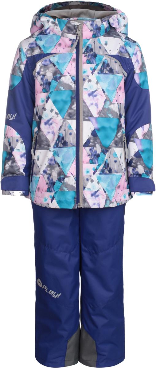 Комплект одежды для девочки atPlay!: куртка, брюки, цвет: фиолетовый. 1su813. Размер 1041su813Комплект одежды для девочки atPlay! состоит из куртки и брюк. Комплект изготовлен из водонепроницаемого, дышащего и ветрозащитного материала с покрытием Teflon от DuPont. Дышащая способность: 5000г/м и водонепроницаемость куртки: 5000мм. Пропитка материала предотвращает проникновение воды и грязи. В качестве наполнителя используется утеплитель нового поколения Shelter (80 гм2), который надежно сохраняет тепло.Куртка с воротником-стойка и съемным капюшоном застегивается на застежку-молнию. Капюшон крепится в куртке с помощью застежки-молнии и липучек. Манжеты рукавов оформлены широкими регулирующими хлястиками на липучках, которые предотвращают проникновение снега и ветра. Спереди модель дополнена двумя прорезными карманами на застежках-молниях, с внутренней стороны одним втачным карманом на молнии. Куртка оформлена ярким принтом.Брюки застегиваются в поясе на кнопку, липучку и ширинку на застежке-молнии. Изделие дополнено эластичными наплечными лямками с застежками-фастекс, регулируемыми по длине.