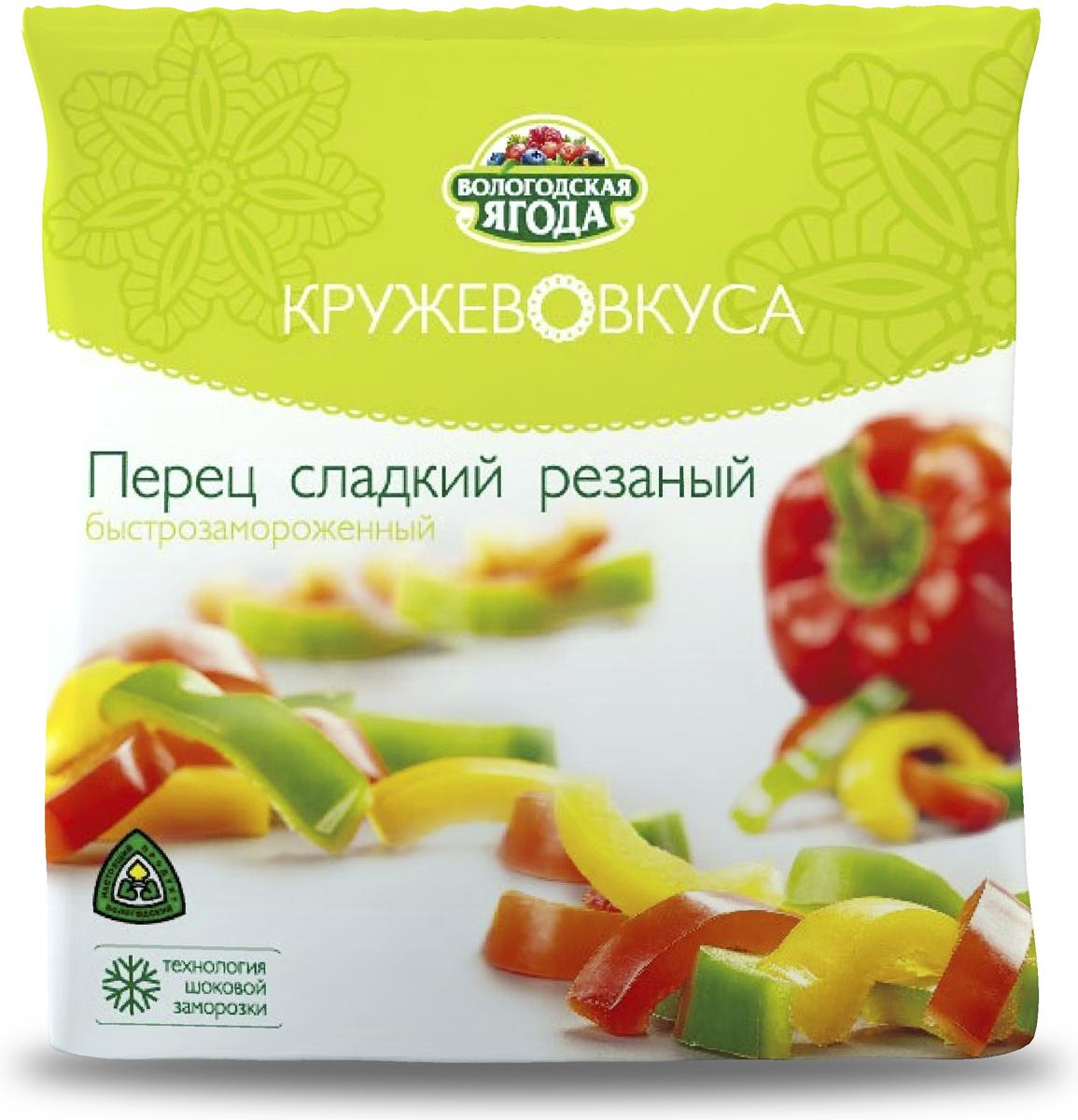 Кружево Вкуса Перец замороженный, 400 гУТ000000175В составе продукта – аккуратно нарезанный красный, жёлтый и зелёный болгарский сладкий перец, без добавления соли и жиров. Сладкий перец ТМ Кружево вкуса станет незаменимым помощником для приготовления массы полезных блюд. Овощные супы и наваристый суп-гуляш, паприкаш и овощные рагу, пицца и паста – везде перец сладкий нарезанный ТМ Кружево вкуса будет кстати.