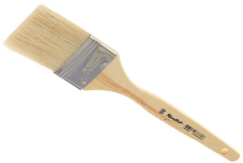 Roubloff Кисть щетина № 50ЖЩФ-50,02БФлейц жесткий из волоса щетины на деревяной короткой лакированной ручке.
