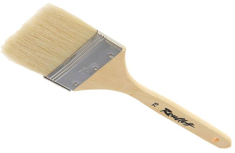 Roubloff Кисть щетина № 75ЖЩФ-75,02БФлейц жесткий из волоса щетины на деревяной короткой лакированной ручке.