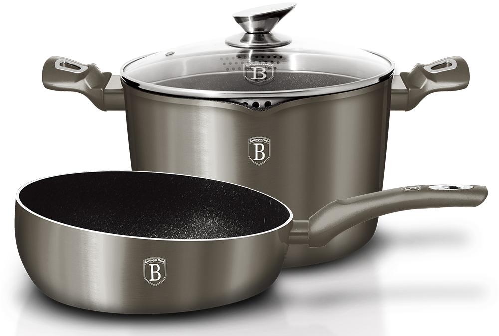 Набор посуды Berlinger Haus Metallic Line, цвет: темно-коричневый, 3 предмета1301-ВННабор посуды 3 предмета, кованый алюминий, Флип сковорода O26 см, толщина стенок 0,5 см, Кастрюля Berlinger Haus с крышкой, O24*15,4см носик для слива воды, объём 5,6л, 3 слоя мраморного покрытия эргономичная ручка soft touch. Подходит для всех видов плит: газовых, электрических, стеклокерамических, галогенных, индукционных.
