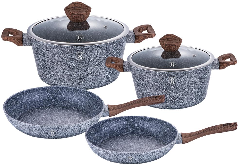 Набор посуды Berlinger Haus Forest Line, цвет: серый, темно-коричневый, 6 предметов1562-ВННабор посуды состоит из 2 кастрюль с крышками и 2 сковородок. Предметы наборавыполнены изкованого алюминия с трехслойным мраморно-гранитным покрытием. Крышка извысококачественного стекла оснащена ручкой-подставкой под кухонные принадлежности. Равномерное распределение температуры по всей поверхности обеспечивает быстроеприготовление пищи. Изделия имеют эргономичные ручки с покрытием soft touch для болееудобнойпереноски. Подходит для всех видов плит: газовых, электрических, стеклокерамических, галогенных,индукционных. Диаметр сковороды: 24 см; 28 см. Высота стенки сковороды: 4,8 см; 5,2 см. Объем кастрюли: 4,1 л; 6,1 см. Диаметр кастрюли по верхнему краю: 24 см; 28 см. Высота стенки кастрюли: 11,8 см; 12,4 см.