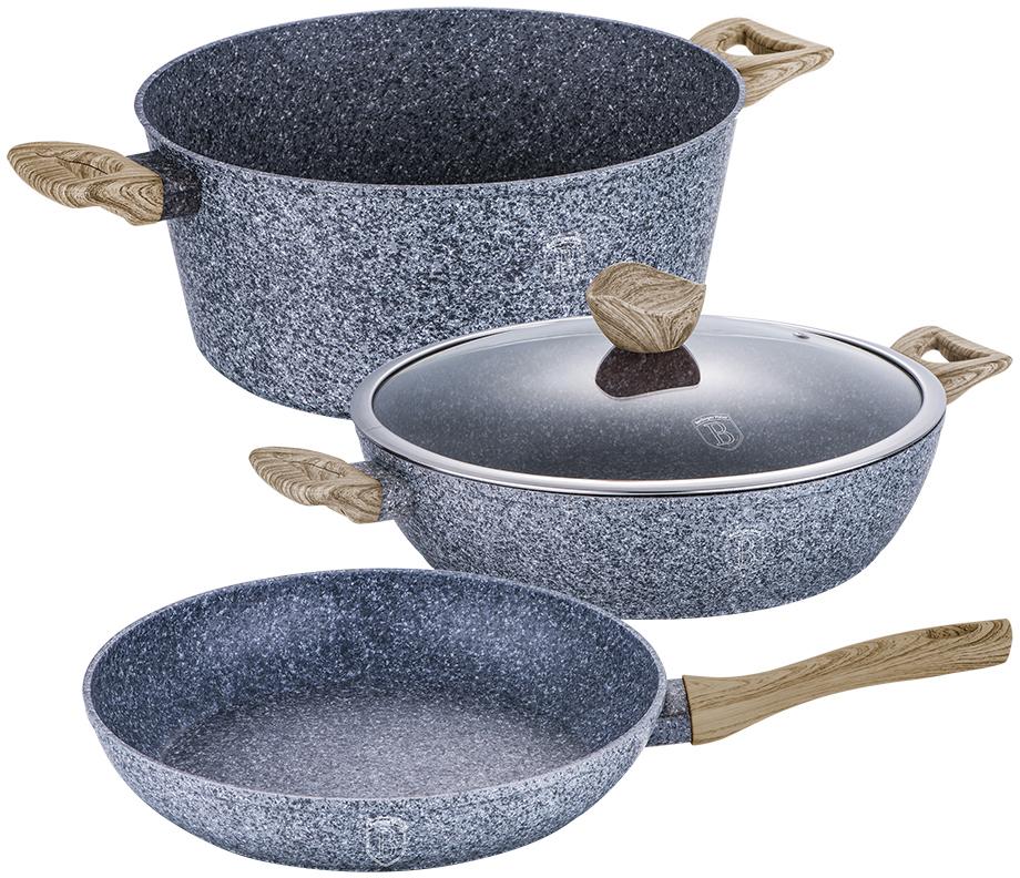 Набор посуды Berlinger Haus Forest Line, цвет: серый, коричневый, 4 предмета1571-ВННабор посуды состоит из кастрюли с крышкой, сотейника и сковороды. Предметы наборавыполнены изкованого алюминия с трехслойным мраморно-гранитным покрытием. Крышка извысококачественного стекла оснащена ручкой-подставкой под кухонные принадлежности. Равномерное распределение температуры по всей поверхности обеспечивает быстроеприготовление пищи. Изделия имеют эргономичные ручки с покрытием soft touch для более удобнойпереноски. Подходит для всех видов плит: газовых, электрических, стеклокерамических, галогенных,индукционных. Диаметр сковороды: 24 см. Высота стенки сковороды: 5 см. Объем кастрюли: 4,1 л. Диаметр кастрюли по верхнему краю: 24 см. Высота стенки кастрюли: 11,8 см. Диаметр сотейника: 24 см. Высота стенки сотейника: 6,5 см.