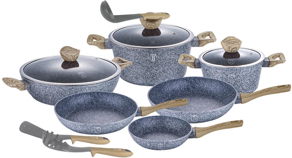 Набор посуды Berlinger Haus Forest Line, 12 предметов1572-ВННабор посуды 12 предметов, кастрюли с крышкой 2,2л - 20*10см, 4,1л - 24*12см, 6,1л -, сотейник 28*7.5см, сковорода 20*4,5см,сковорода 24*4,8см, сковорода 28*5,2 см, кухонные принадлежности 3 шт. Особенности: материал - кованый алюминий, 3 слоя мраморно-гранитного покрытия, толщина стенок 0,5 см, эргономичная ручка soft touch, крышка с ручкой-подставкой под кухонные принадлежности O20, 24, 28. Подходит для всех видов плит: газовых, электрических, стеклокерамических, галогенных, индукционных.