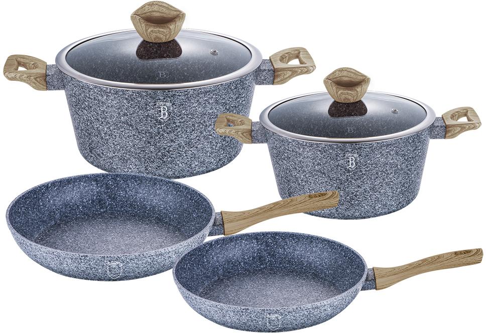 Набор посуды Berlinger Haus Forest Line, цвет: серый, коричневый, 6 предметов1575-ВННабор посуды состоит из 2 кастрюль с крышками и 2 сковородок. Предметы наборавыполнены изкованого алюминия с трехслойным мраморно-гранитным покрытием. Крышка извысококачественного стекла оснащена ручкой-подставкой под кухонные принадлежности. Равномерное распределение температуры по всей поверхности обеспечивает быстроеприготовление пищи. Изделия имеют эргономичные ручки с покрытием soft touch для более удобнойпереноски. Подходит для всех видов плит: газовых, электрических, стеклокерамических, галогенных,индукционных. Диаметр сковороды: 24 см; 28 см. Высота стенки сковороды: 4,8 см; 5,2 см. Объем кастрюли: 4,1 л; 6,1 см. Диаметр кастрюли по верхнему краю: 24 см; 28 см. Высота стенки кастрюли: 11,8 см; 12,4 см.