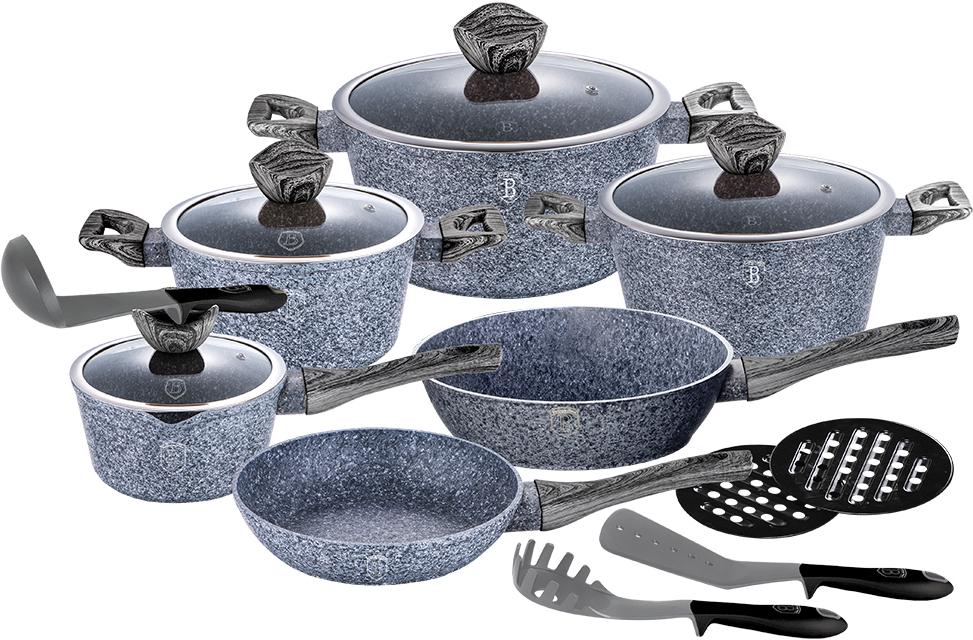 Набор посуды Berlinger Haus Forest Line, 15 предметов1578-ВННабор посуды состоит из 3 кастрюль с крышками, сотейника, сковородки, ковша с крышкой, 2подставок под горячее и 3 кухонных принадлежностей. Предметы набора выполнены из кованогоалюминия с трехслойным мраморно-гранитным покрытием. Крышки из высококачественногостекла оснащены ручкой-подставкой под кухонные принадлежности. Равномерное распределение температуры по всей поверхности обеспечивает быстроеприготовление пищи. Изделия имеют эргономичные ручки с покрытием soft touch для болееудобнойпереноски. Подходит для всех видов плит: газовых, электрических, стеклокерамических, галогенных,индукционных. Диаметр сковороды: 28 см. Высота стенки сковороды: 5,2 см. Объем кастрюли: 2,5 л; 4,1 л, 6,1 л. Диаметр кастрюли по верхнему краю: 20 см; 24 см; 28 см. Высота стенки кастрюли: 10,4 см; 11,8 см; 12,5 см. Диаметр сотейника по верхнему краю: 28 см. Высота стенки сотейника: 7,5 см.