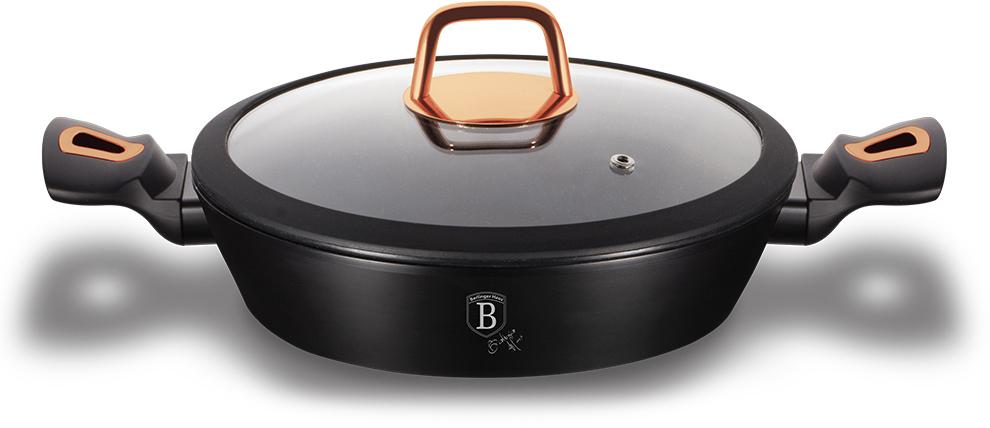 """Сотейник Berlinger Haus """"Black Rose"""" изготовлен из кованого алюминия с трехслойным мраморным покрытием. Такое покрытие абсолютно безопасно для здоровья и не выделяет вредных веществ во время готовки, потому процесс приготовления становится максимально комфортным.   Индукционная основа сохранит 35% энергии, благодаря этому тепло распределяется равномерно по всей поверхности посуды, что позволяет пище готовиться быстрее. Материал сотейника не содержит свинца (lead), кадмия и перфтороктановой кислоты (PFOA), что делает её безопасной и экологичной. Крышка имеет специальное отверстие для пара, оснащена силиконовым ободком. Ручки с покрытием софт-тач делают сотейник максимально удобным в использовании. Посуда подходит для всех видов плит. Можно мыть в посудомоечной машине."""