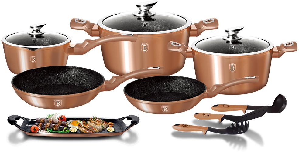 Набор посуды Berlinger Haus Metallic Line, цвет: коричневый, 14 предметов1696-BHНабор посуды состоит из 2 сковородок, 2 кастрюль с крышками, ковша с крышкой, плато- гриля, 2 силиконовых ручек и 3 нейлоновых кухонных принадлежностей. Предметы наборавыполнены из кованого алюминия с мраморным покрытием, а крышки - из высококачественногостекла. Равномерное распределение температуры по всей поверхности обеспечивает быстроеприготовление пищи. Изделия имеют эргономичные ручки с покрытием soft touch для болееудобной переноски. Подходит для всех видов плит: газовых, электрических, стеклокерамических, галогенных,индукционных. Диаметр сковороды: 22 см; 24 см. Высота стенки сковороды: 4,5 см; 4,8 см. Объем кастрюли: 2,5 л; 4,1 л. Диаметр кастрюли по верхнему краю: 20 см; 24 см. Высота стенки кастрюли: 10,4 см; 11,8 см. Объем ковша: 1,7 л. Диаметр ковша: 16 см. Высота стенки ковша: 7,5 см. Размер плато-гриля: 36 х 23 см.