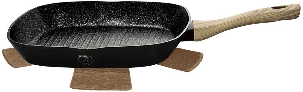 """Сковорода-гриль изготовлена из кованого алюминия, имеет 3 слоя мраморного покрытия, эргономичную ручку """"soft touch"""", подставку под горячее. Подходит для всех видов плит: газовых, электрических, стеклокерамических, галогенных, индукционных."""
