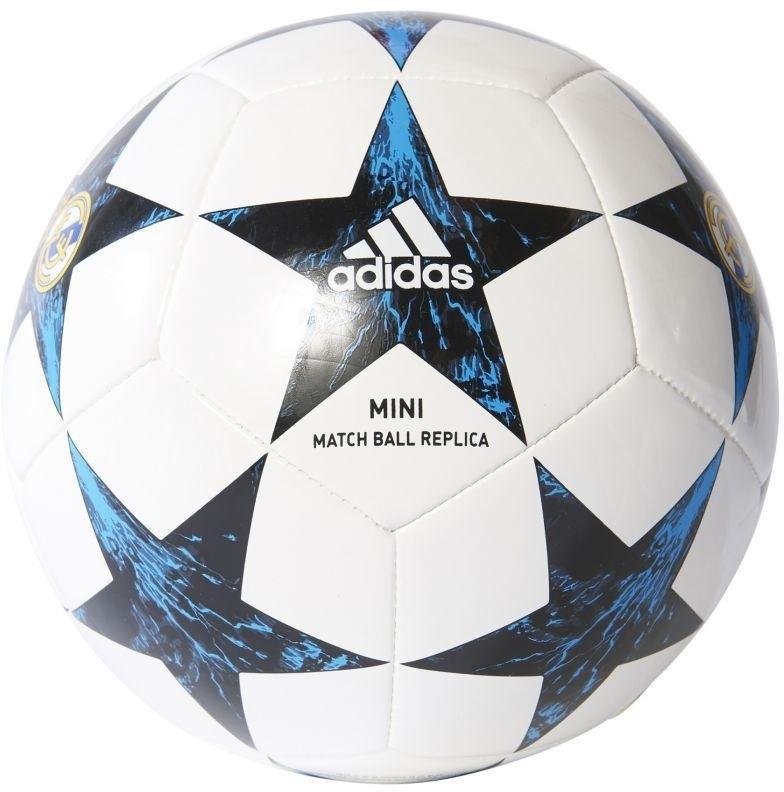 Мяч футбольный Adidas Finale17RM Min, цвет: синий, белый. Размер 1BS3450Футбольный мяч Adidas Performance FINALE17RM MIN. Машинная строчка обеспечивает мягкий контакт и максимальную прочность. Бутилкаучуковая камера надежно удерживает воздух. Логотип ФК Реал Мадрид.