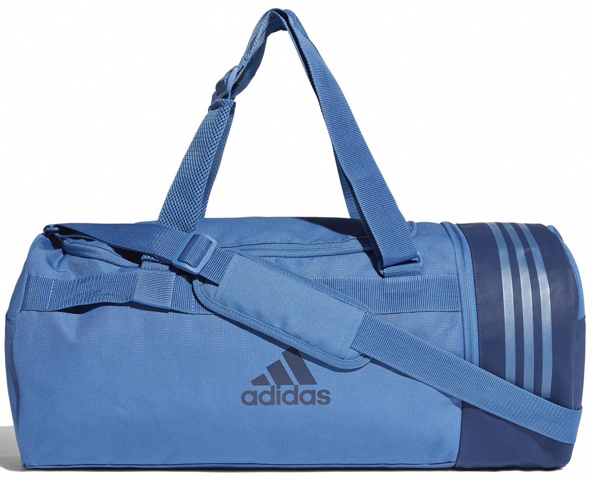 Сумка спортивная мужская Adidas Cvrt 3S Duf M, цвет: синий, 37 л. CV5077CV5077Положи свою экипировку в эту спортивную сумку, которая легко превращается в рюкзак. Множество карманов для полезных мелочей и вентилируемое отделение для обуви. Модель выполнена из прочного полиэстера, а основание покрыто термопластичным эластомером для дополнительной износостойкости.Основное отделение на молнии; вентилируемый отсек для обуви на молнии; карман на молнии сбоку; три внутренних прорезных карманаРегулируемый мягкий ремень на плечо; мягкие ручки из крупной сеткиСумка-трансформер с конструкцией Pack2Go легко превращается в рюкзакОснование с покрытием из термопластичного эластомера для износостойкостиТри полоски сверхуЛоготип adidas сбокуРазмеры: 58 см х 27 см 27 см.