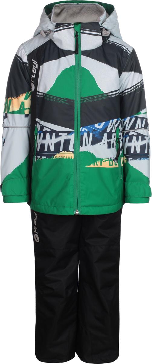 Комплект верхней одежды для мальчиков atPlay!: куртка, брюки, цвет: зеленый. 2su814. Размер 1102su814Комплект одежды для мальчика atPlay! состоит из куртки и брюк. Комплект изготовлен из водонепроницаемого, дышащего и ветрозащитного материала с покрытием Teflon от DuPont. Дышащая способность: 5000г/м и водонепроницаемость куртки: 5000мм. Пропитка материала предотвращает проникновение воды и грязи. В качестве наполнителя используется утеплитель нового поколения Shelter (80 гм2), который надежно сохраняет тепло.Куртка с воротником-стойка и съемным капюшоном застегивается на застежку-молнию. Капюшон крепится в куртке с помощью застежки-молнии и липучек. Манжеты рукавов оформлены широкими регулирующими хлястиками на липучках, которые предотвращают проникновение снега и ветра. Спереди модель дополнена двумя прорезными карманами на застежках-молниях, с внутренней стороны одним втачным карманом на молнии. Куртка оформлена ярким принтом.Брюки застегиваются в поясе на кнопку, липучку и ширинку на застежке-молнии. Изделие дополнено эластичными наплечными лямками с застежками-фастекс, регулируемыми по длине.