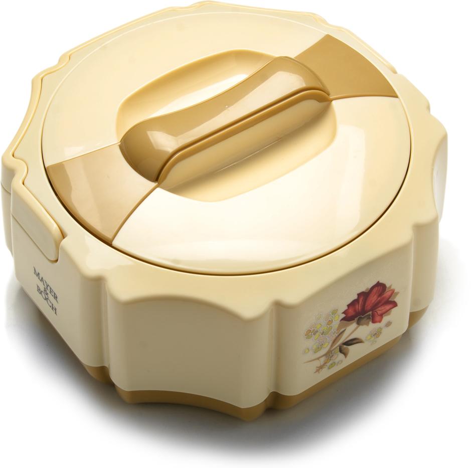 Контейнер для еды Mayer & Boch, 1,5 л. 22596-1, цвет: бежевый, коричневый, 1,5 л. 22596-122596-1Термоконтейнер Mayer & Boch станет прекрасным дополнением к набору ваших кухонных принадлежностей. Термоконтейнер предназначен для длительного хранения горячих блюд, сохраняя нужную температуру до 5-ти часов. Выполнен из пищевого пластика и высококачественной нержавеющей стали, не вступающей в реакцию с продуктами и не искажающей вкус приготовленных блюд. Данный контейнер обладает не только прекрасными термоизоляционными качествами, но и непревзойденной надежностью. Благодаря эргономичной форме его удобно транспортировать. Такой термоконтейнер идеально подойдет для обедов на работе или при отдыхе на природе. В комплекте 5 предметов: контейнер, крышка, 1 дополнительная крышка, вилка, ложка. Подходит для мытья в посудомоечной машине.