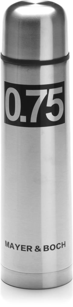 Термос Mayer & Boch, с чехлом, цвет: серебристый, черный, 750 мл27612Термос с чехлом Mayer & Boch выполнен из качественной нержавеющей стали, которая не вступает в реакцию с содержимым термоса и не изменяет вкусовых качеств напитка. Двойная стенка из нержавеющей стали сохраняет температуру на срок до 6-ти часов. Вакуумный закручивающийся клапан предохраняет от проливаний. Цветное покрытие обеспечивает защиту от истирания корпуса. Данная модель термоса прочная, долговечная и в тоже время легкая. Стильный металлический термос понравится абсолютно всем и впишется в любой интерьер кухни. Легко и просто моется.