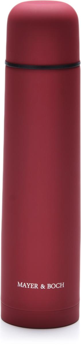 Термос Mayer & Boch, 1 л. 27616-1, цвет: красный, 1 л. 2761627616-1Термос Mayer & Boch выполнен из качественной нержавеющей стали, которая не вступает в реакцию с содержимым термоса и не изменяет вкусовых качеств напитка. Двойная стенка из нержавеющей стали сохраняет температуру на срок до 24-х часов. Вакуумный закручивающийся клапан предохраняет от проливаний, а удобная кнопка-дозатор избавит от необходимости каждый раз откручивать крышку. Крышку можно использовать как чашку. Цветное покрытие обеспечивает защиту от истирания корпуса. Данная модель термоса прочная, долговечная и в тоже время легкая. Стильный металлический термос понравится абсолютно всем и впишется в любой интерьер кухни. Легко и просто моется.